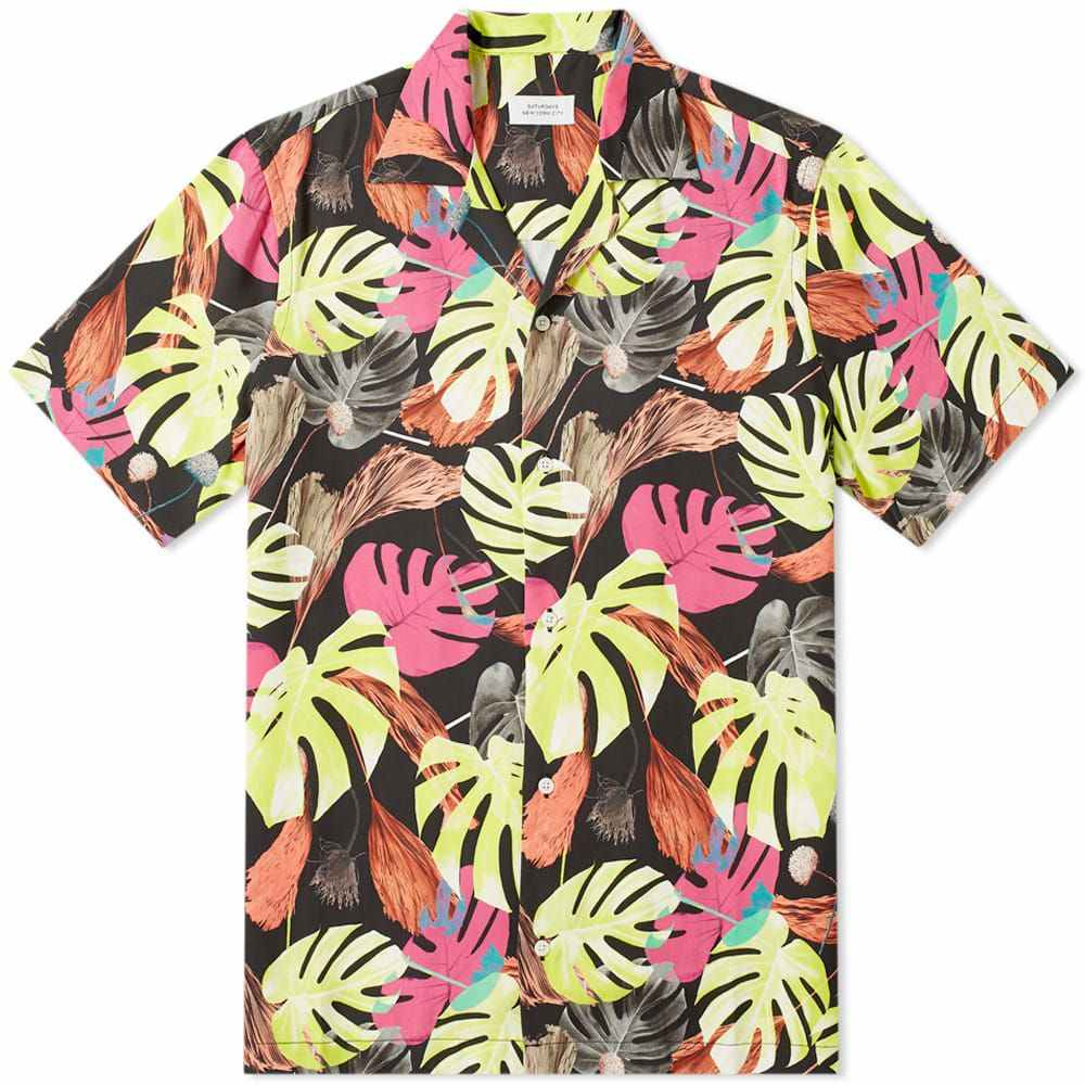 サタデーニューヨーク Saturdays NYC メンズ 半袖シャツ トップス【canty hyper palm print vacation shirt】Hyper Monstera Print