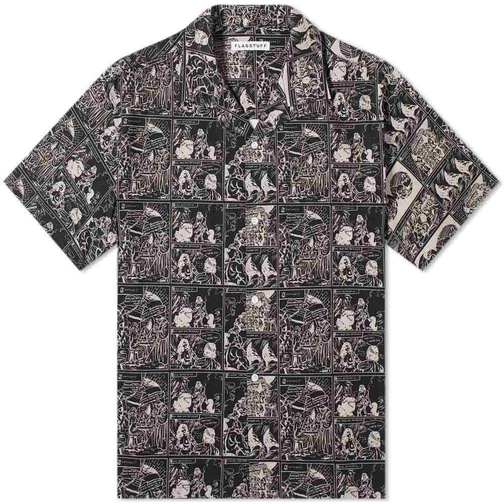 フラグスタフ Flagstuff メンズ 半袖シャツ トップス【masa print vacation shirt】Black
