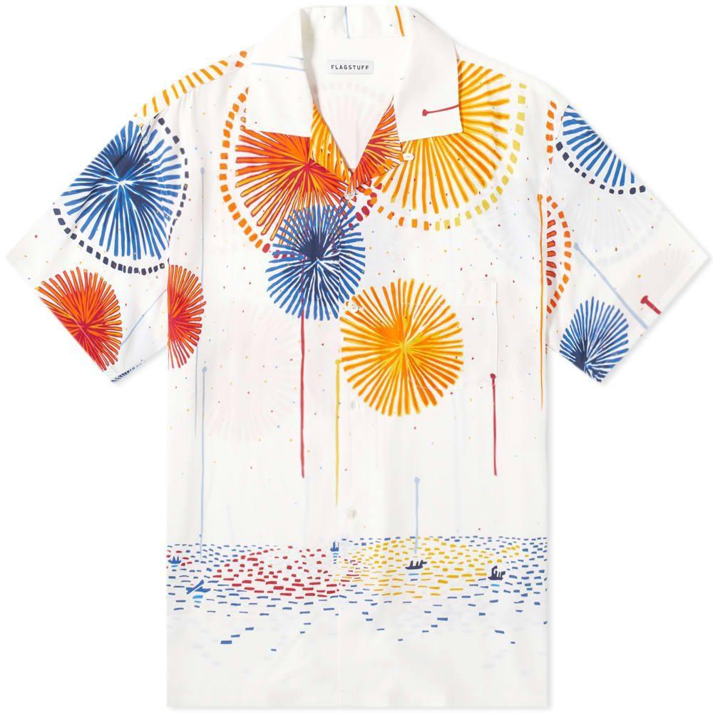フラグスタフ Flagstuff メンズ 半袖シャツ トップス【hanabi vacation shirt】White