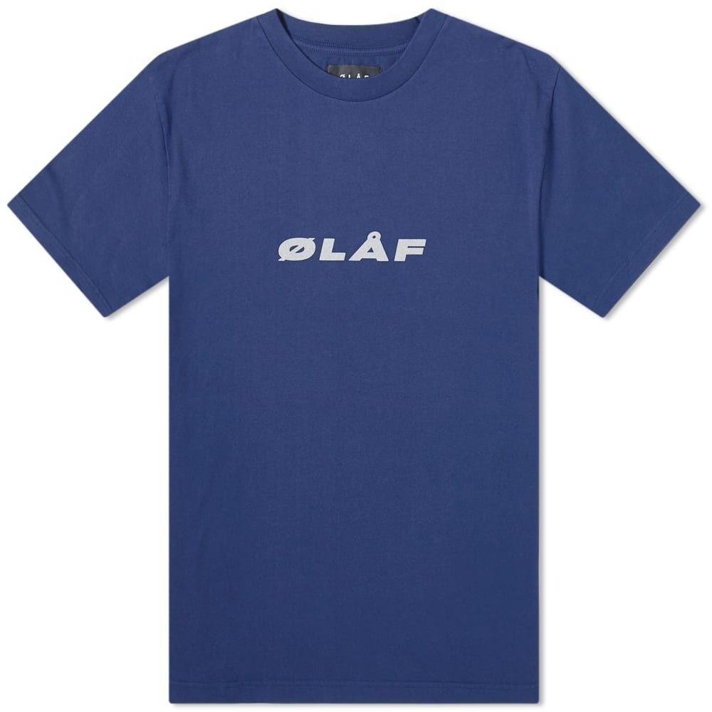 オラフハンセン Olaf Hussein メンズ Tシャツ トップス【olaf reflective italic tee】Navy