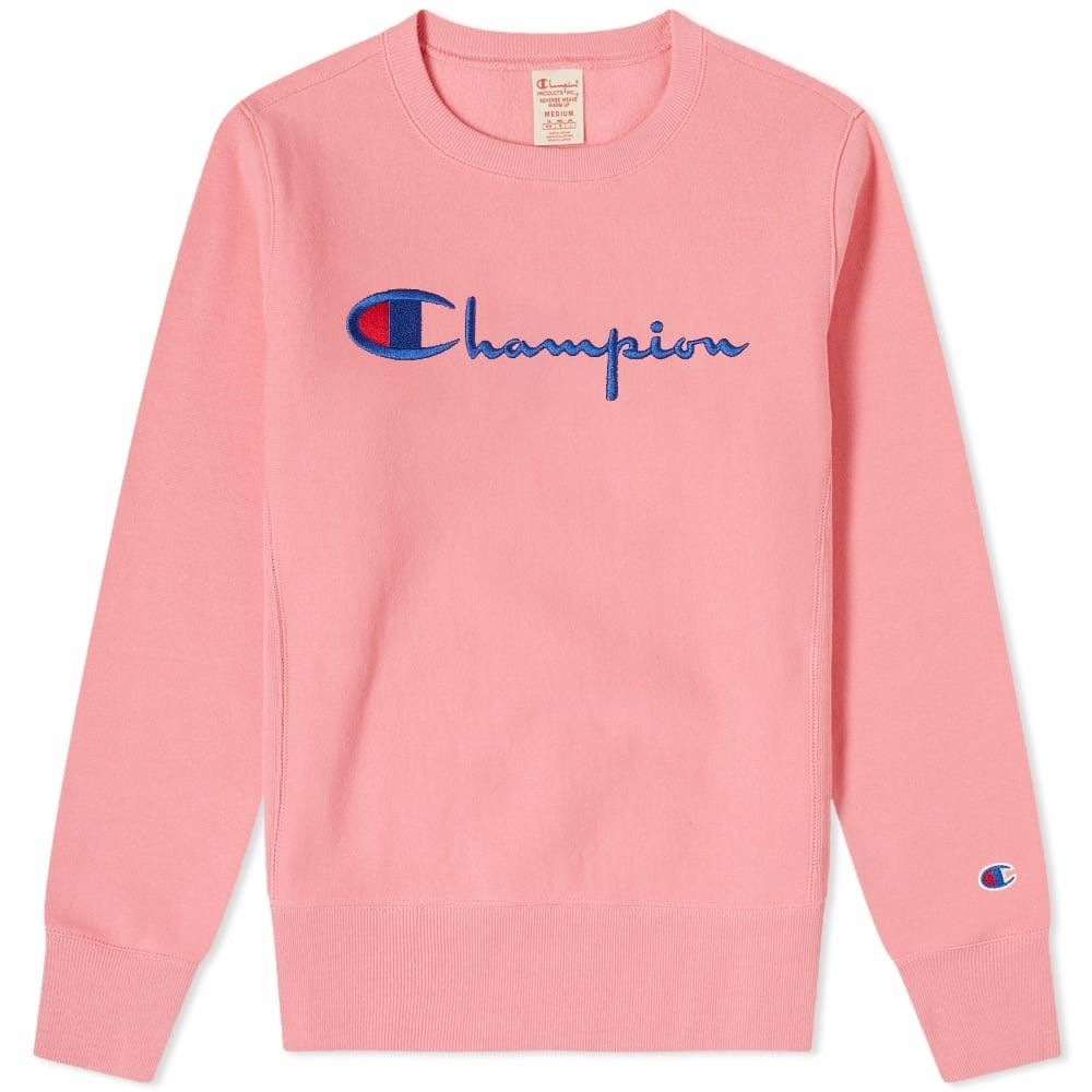 チャンピオン Champion Reverse Weave レディース スウェット・トレーナー トップス【big script crew sweat】Hot Pink