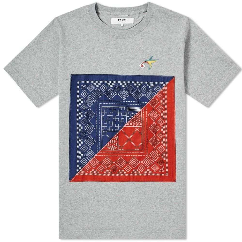 ファンダメンタル FDMTL メンズ Tシャツ トップス【square sashiko tee】Grey