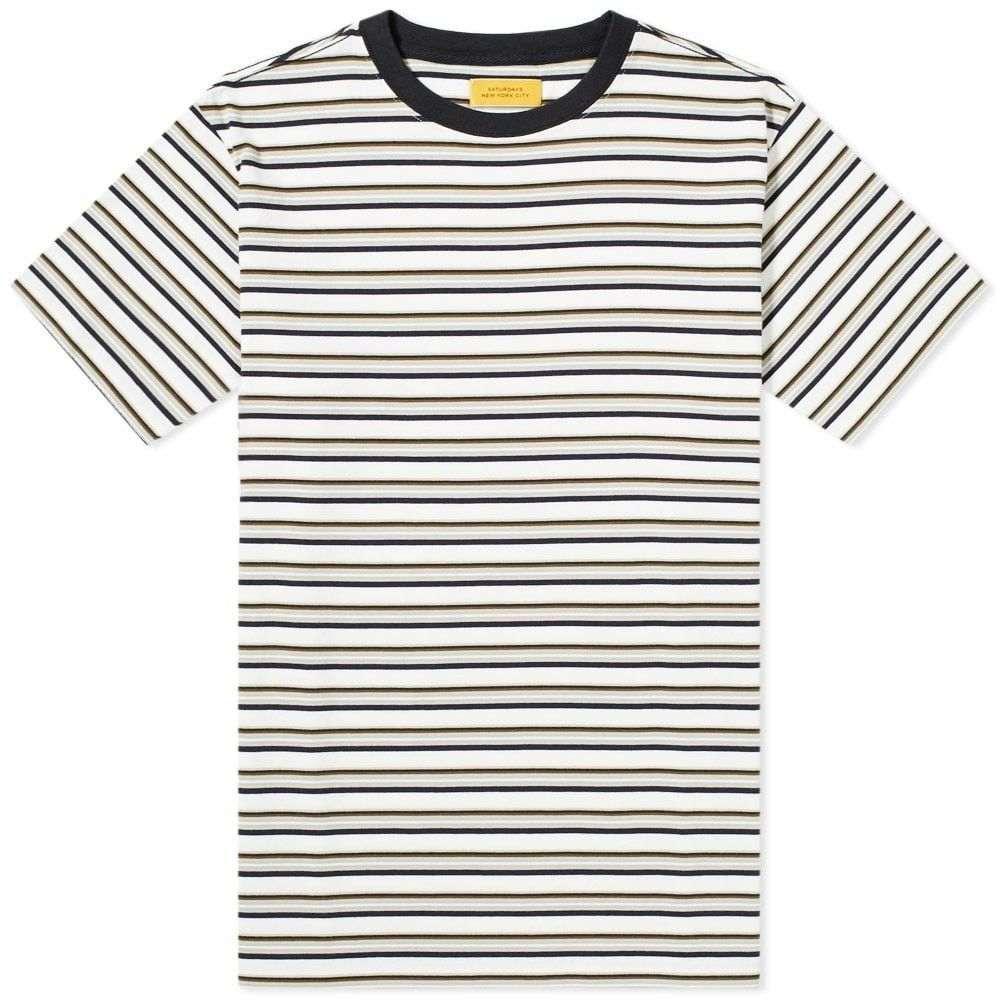 サタデーニューヨーク Saturdays NYC メンズ Tシャツ トップス【brandon stripe tee】Ivory