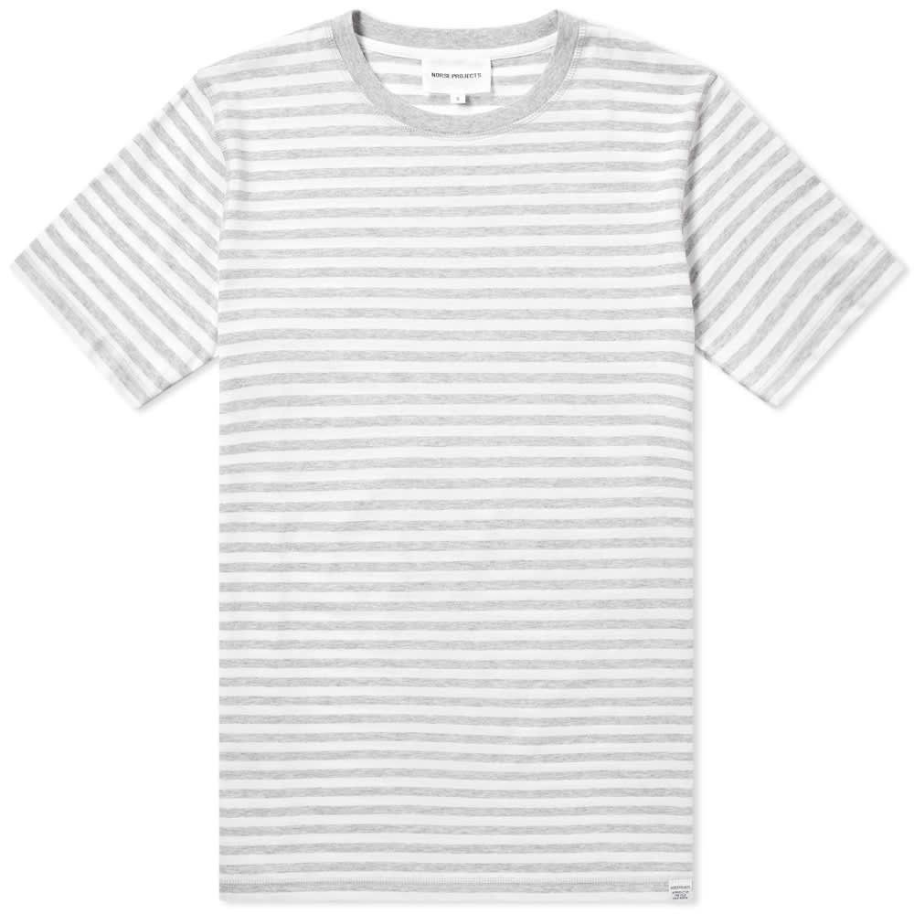 ノースプロジェクト Norse Projects メンズ Tシャツ トップス【niels stripe tee】Light Grey Melange/White