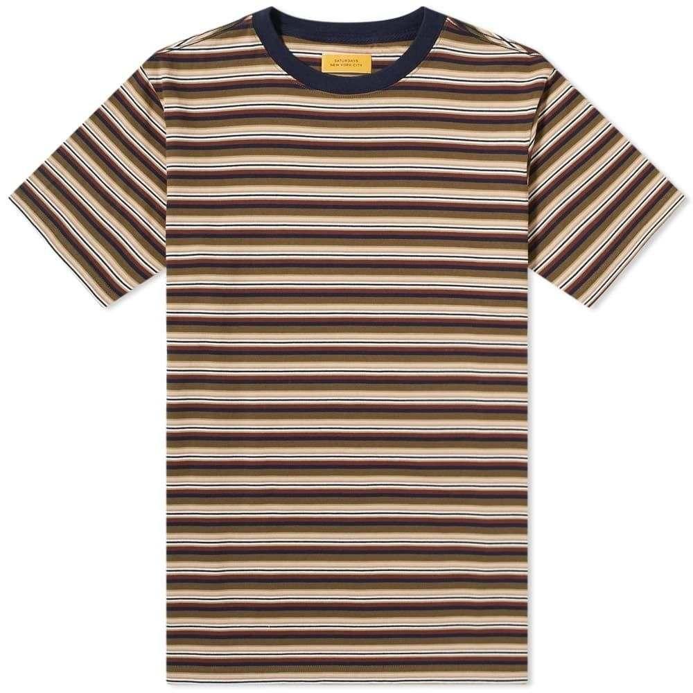 サタデーニューヨーク Saturdays NYC メンズ Tシャツ トップス【brandon stripe tee】Military Olive
