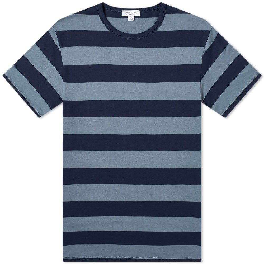 サンスペル Sunspel メンズ Tシャツ トップス【broad stripe classic tee】Navy/Blue Slate