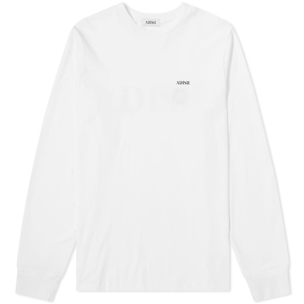 ADISH メンズ 長袖Tシャツ ロゴTシャツ トップス【long sleeve shakeh logo tee】White