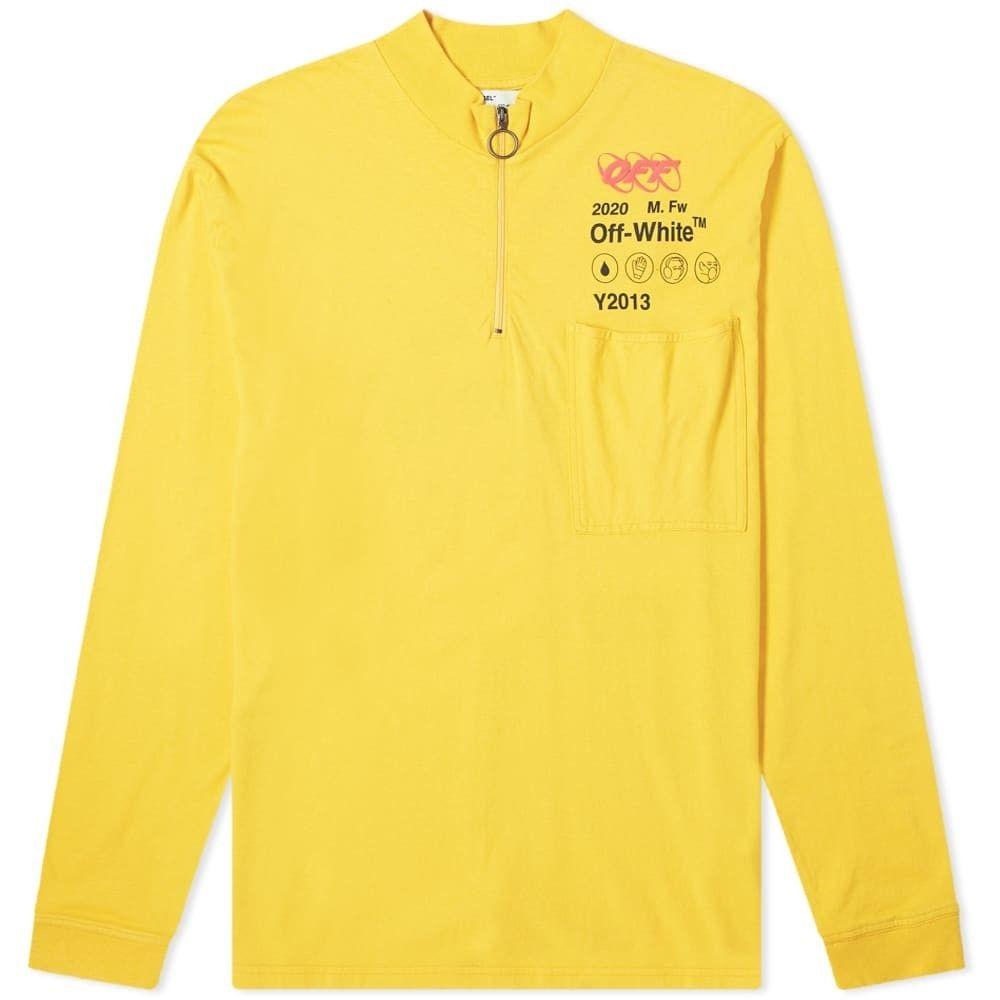 オフホワイト Off-White メンズ 長袖Tシャツ トップス【industrial y013 zip mock neck tee】Yellow