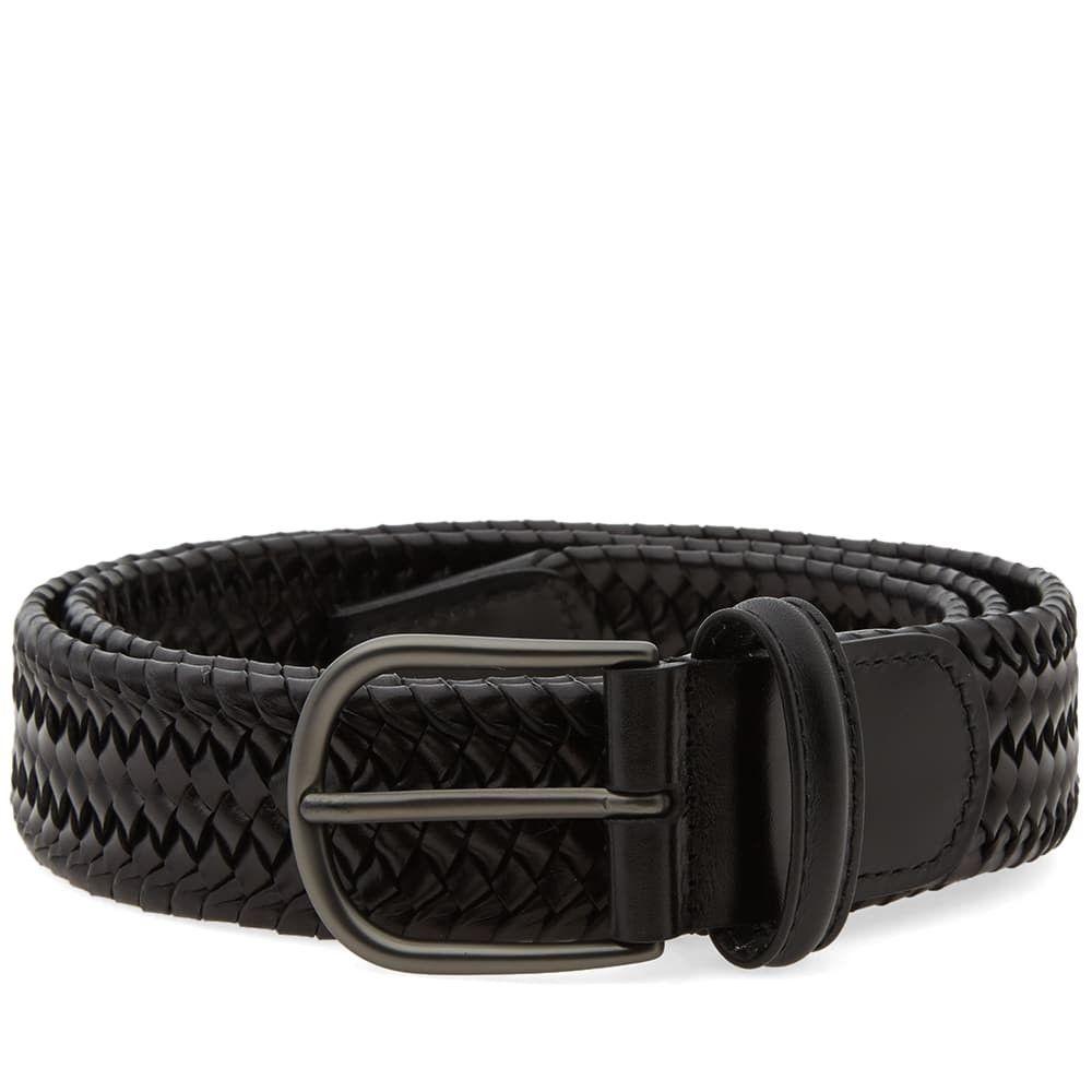 アンダーソンズ Andersons メンズ ベルト 【anderson's stretch woven leather belt】Black