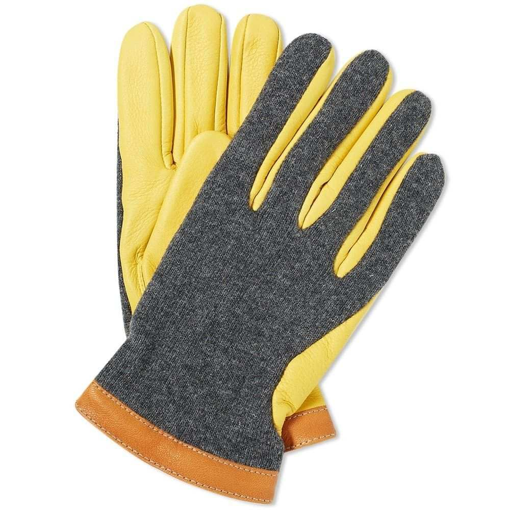 ヘスタ Hestra メンズ 手袋・グローブ 【deerskin wool tricot glove】Charcoal/Yellow