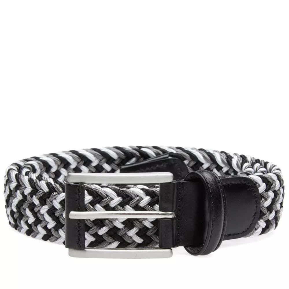 アンダーソンズ Andersons メンズ ベルト 【anderson's woven textile belt】Black/Grey/White