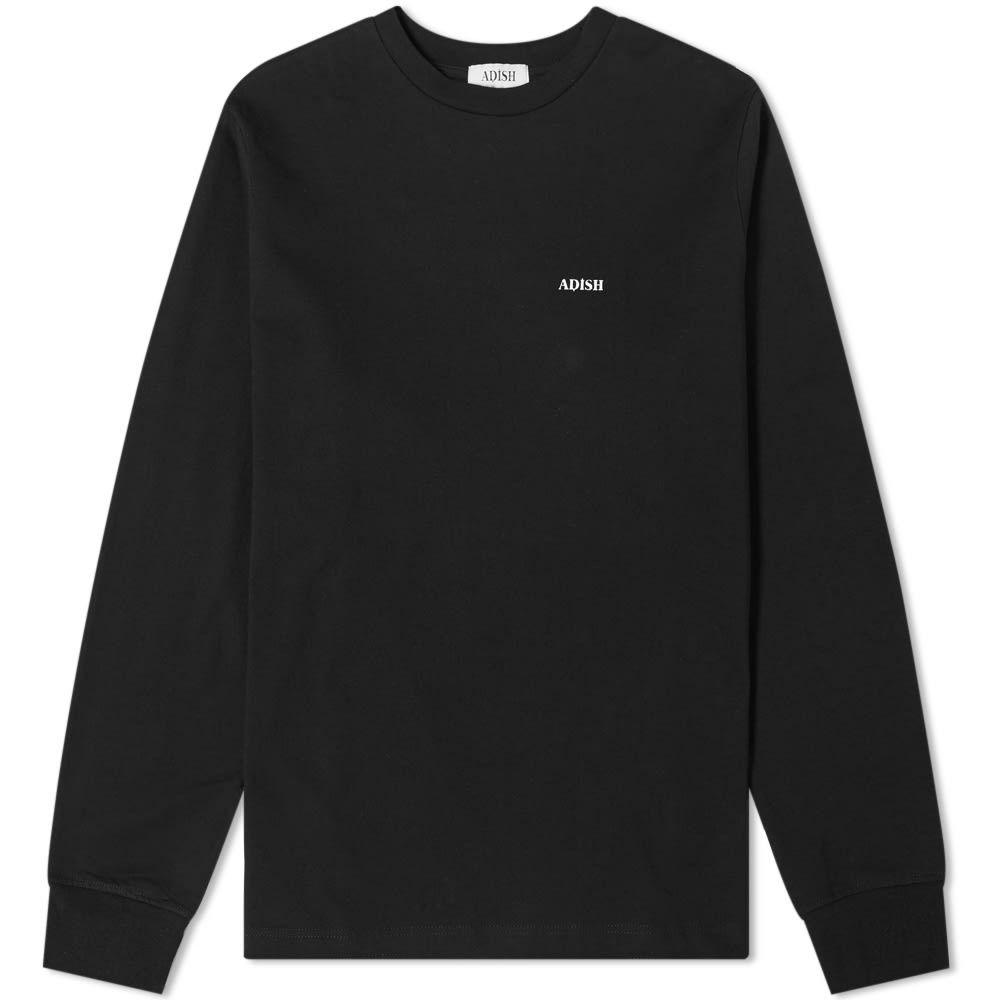 ADISH メンズ 長袖Tシャツ ロゴTシャツ トップス【long sleeve shakeh logo tee】Black