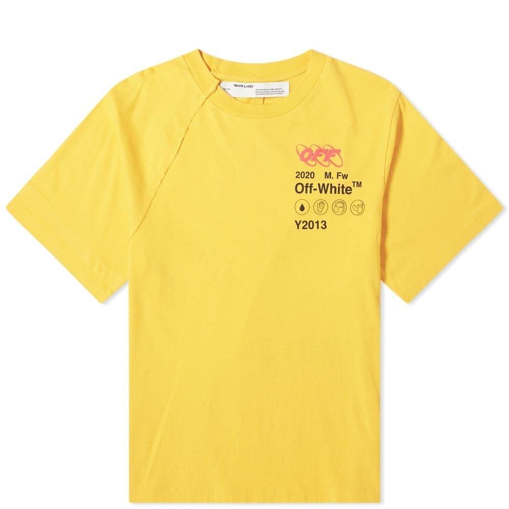 オフホワイト Off-White メンズ Tシャツ トップス【industrial y013 reconstructed tee】Yellow