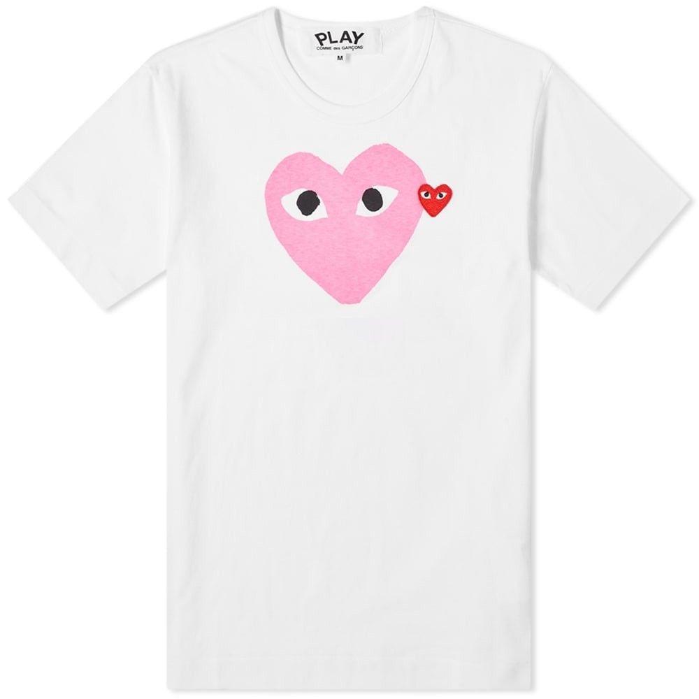 コム デ ギャルソン Comme des Garcons Play メンズ Tシャツ トップス【Red Heart Colour Heart Tee】White/Pink