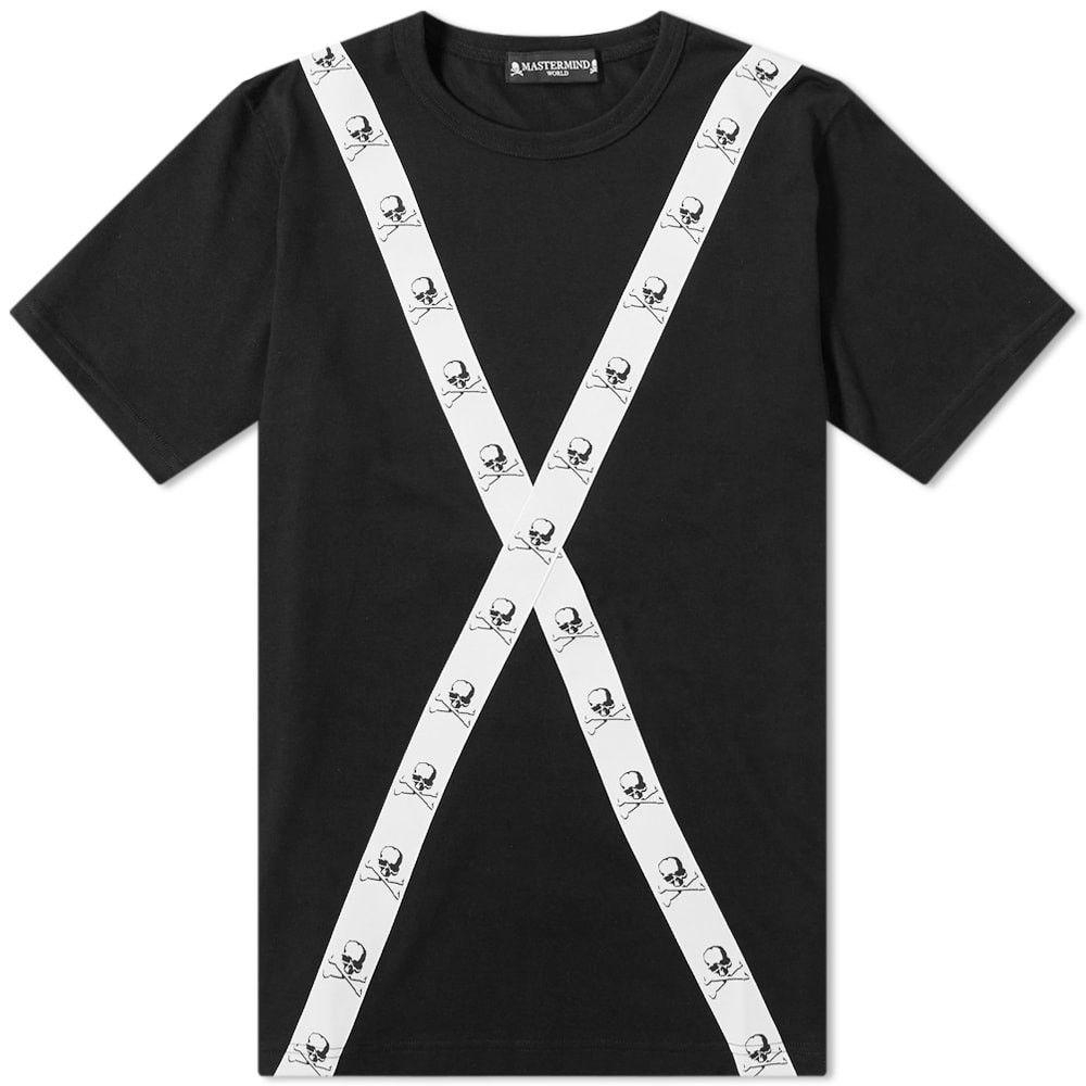 マスターマインド MASTERMIND WORLD メンズ Tシャツ トップス【Tape Back Detail Tee】Black/White