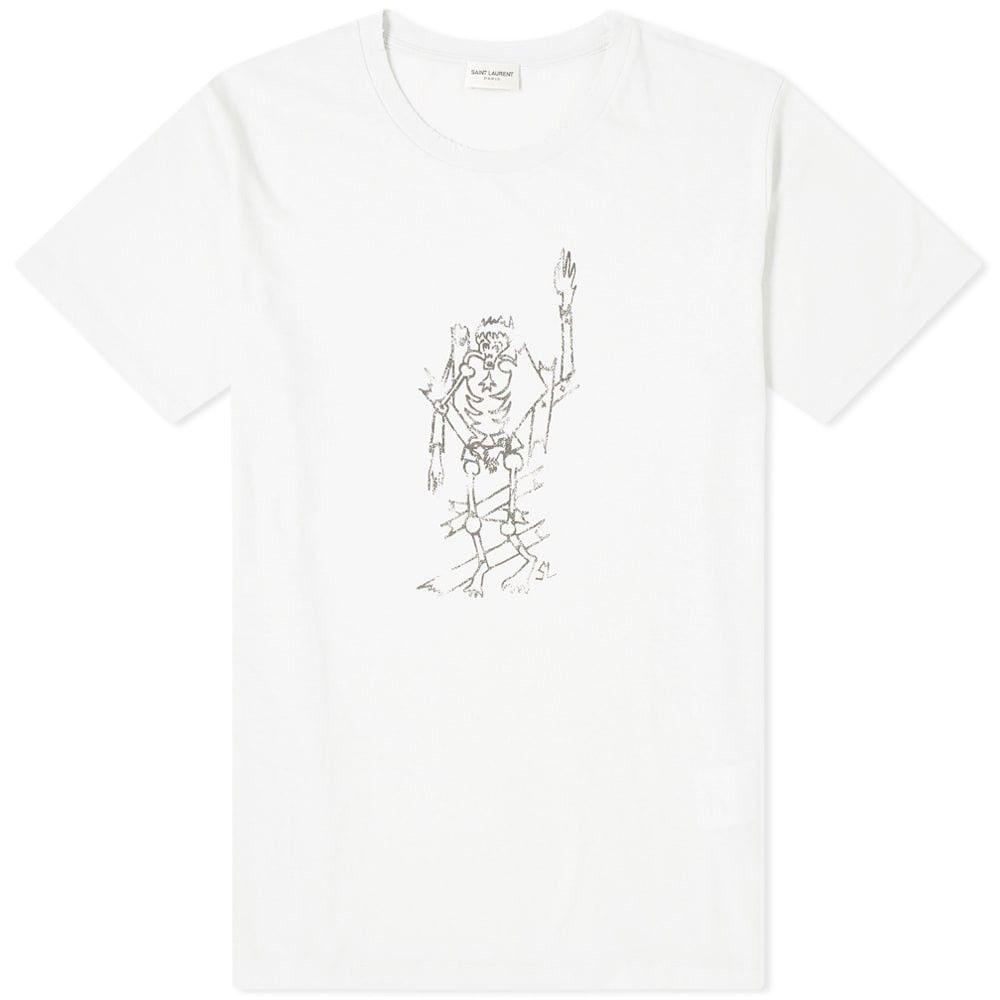 イヴ サンローラン Saint Laurent メンズ Tシャツ トップス【Burning Man Print Tee】Ecru