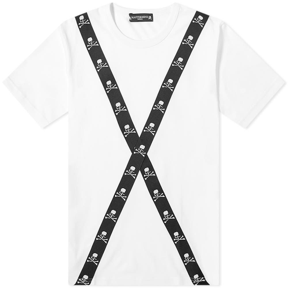 マスターマインド MASTERMIND WORLD メンズ Tシャツ トップス【Tape Back Detail Tee】White/Black