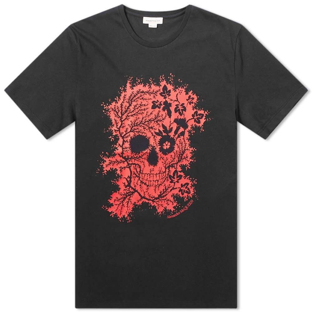 アレキサンダー マックイーン Alexander McQueen メンズ Tシャツ トップス【Flower Skull Tee】Black/Red