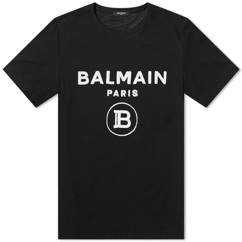 バルマン Balmain メンズ Tシャツ ロゴTシャツ トップス【Velvet Paris Logo Tee】Black