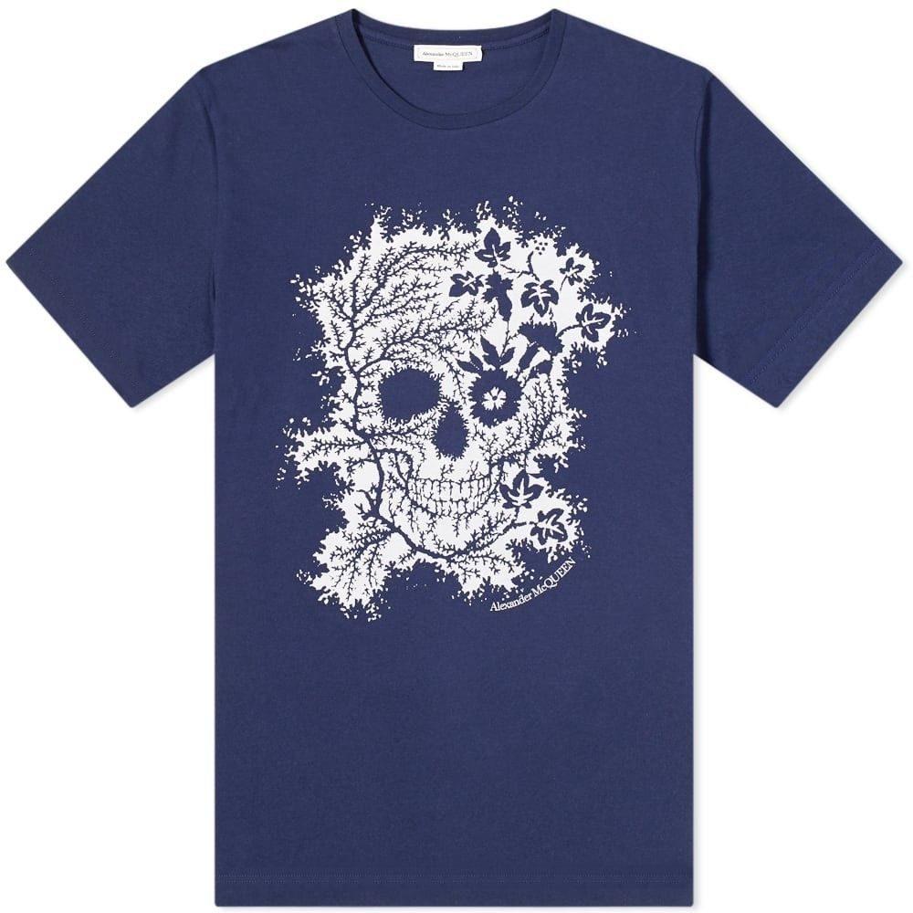 アレキサンダー マックイーン Alexander McQueen メンズ Tシャツ トップス【Flower Skull Tee】Navy/Red