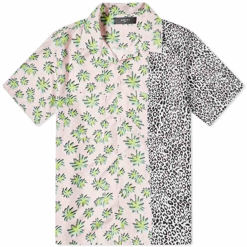 アミリ AMIRI メンズ 半袖シャツ トップス【short sleeve split palm leopard shirt】Pink
