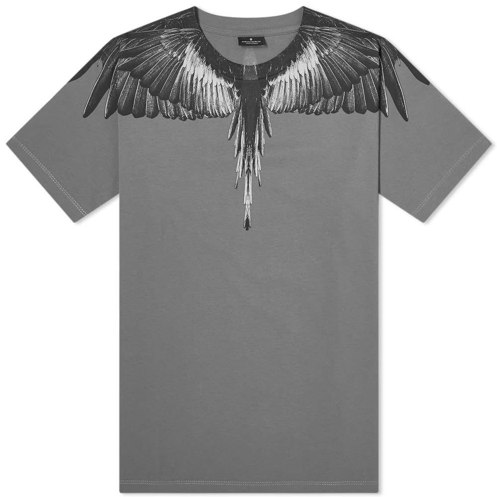 マルセロバーロン Marcelo Burlon メンズ Tシャツ トップス【Wings Shoulder Tee】Grey/Black