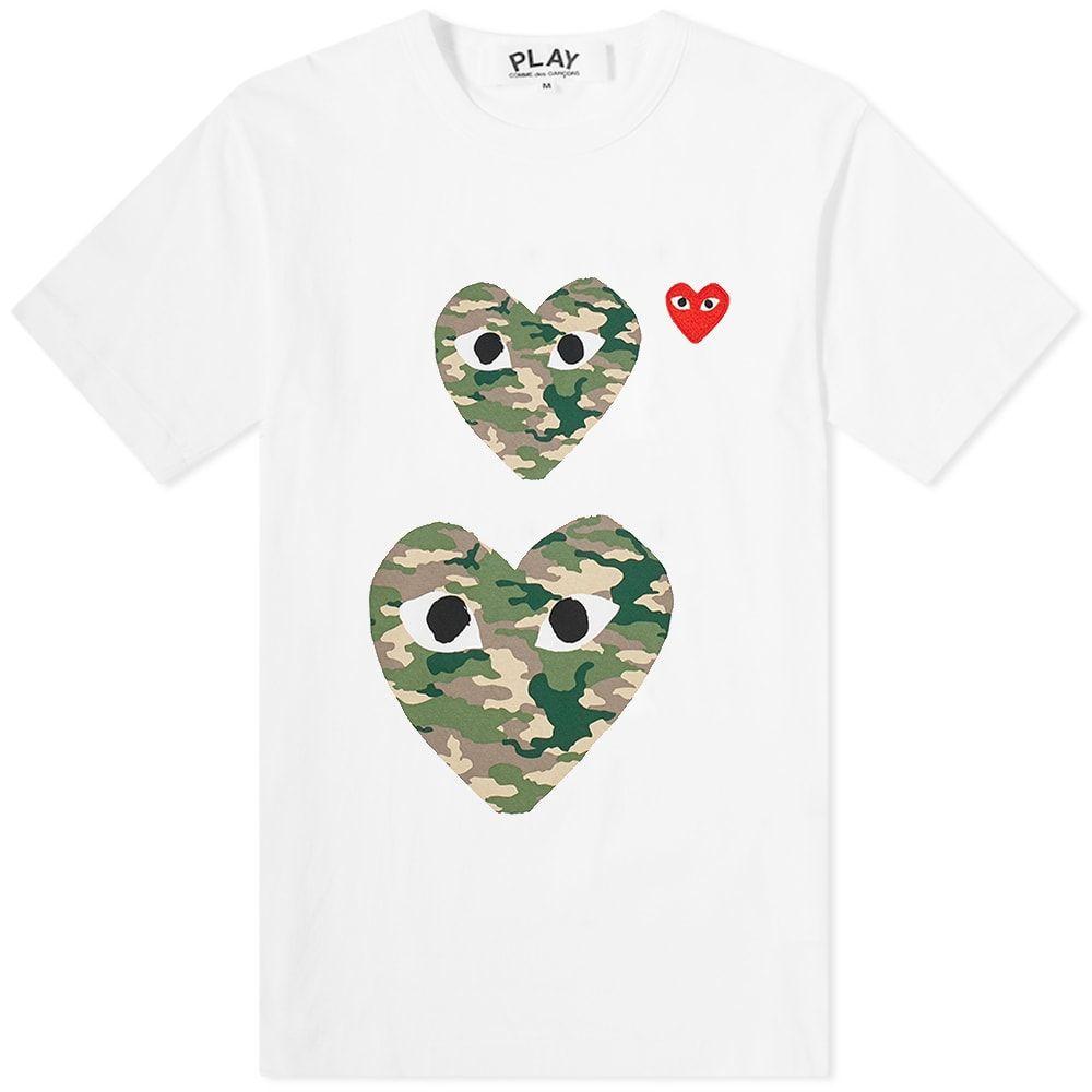 コム デ ギャルソン Comme des Garcons Play メンズ Tシャツ トップス【Twin Heart Tee】White/Camo