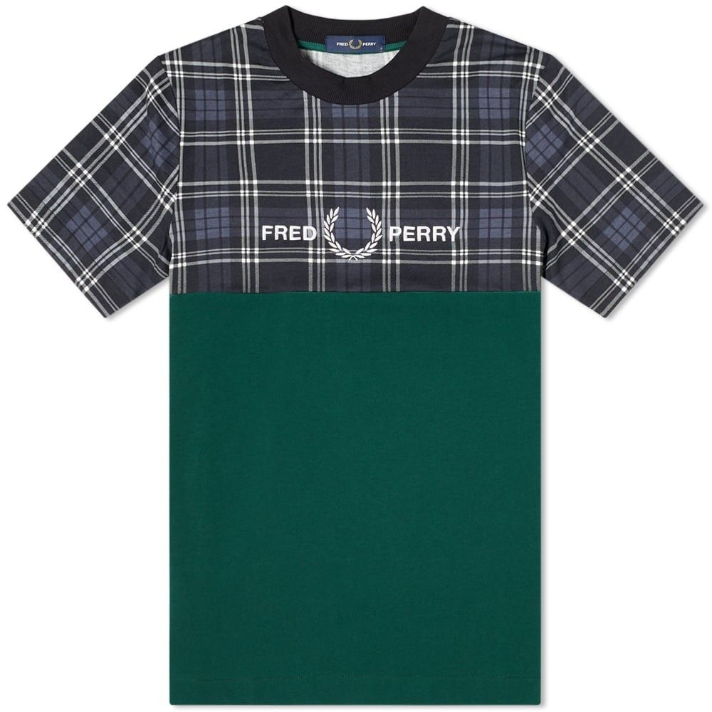 フレッドペリー Fred Perry Authentic メンズ Tシャツ トップス【Fred Perry Tartan Panel Tee】Ivy