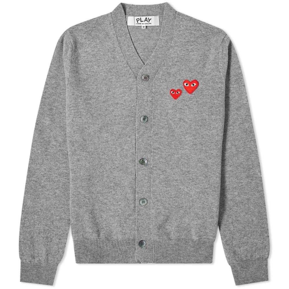 コム デ ギャルソン Comme des Garcons Play メンズ カーディガン トップス【Double Heart Cardigan】Grey