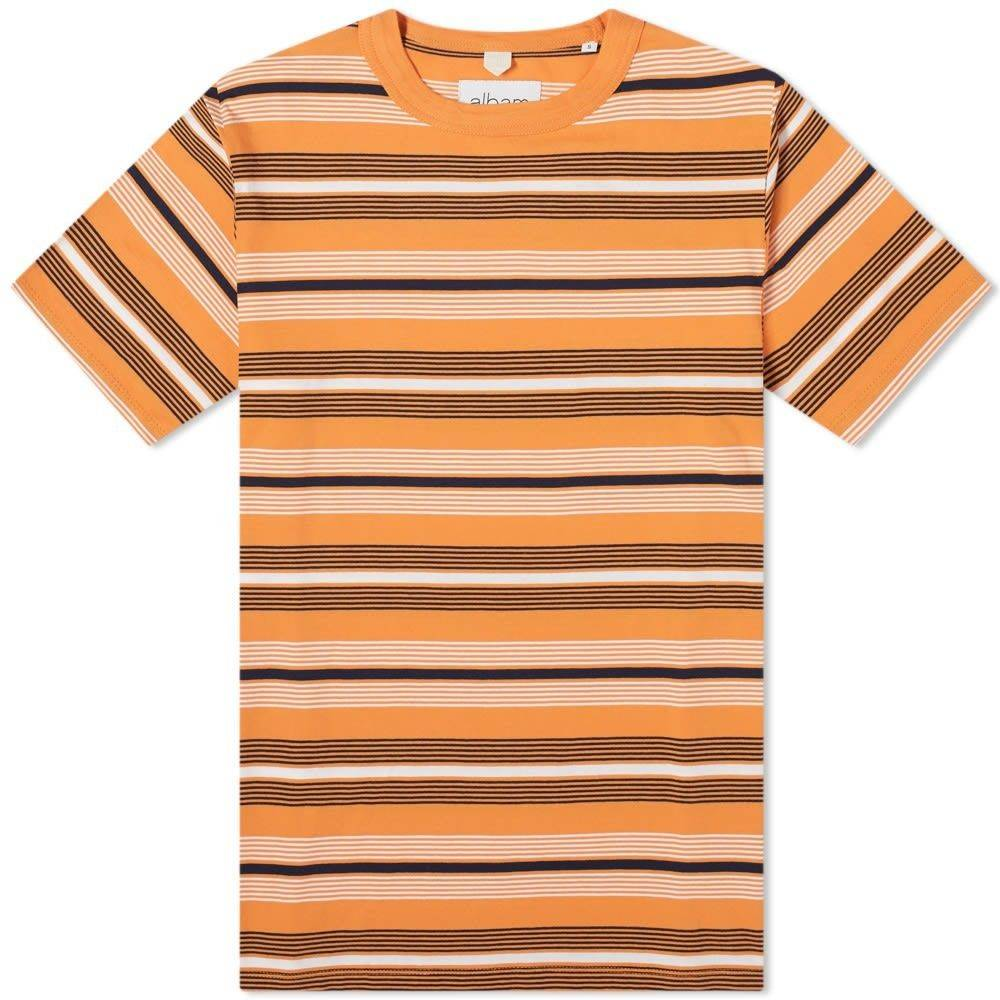 アルバム Albam メンズ Tシャツ トップス【Multi Striped Tee】Orange Stripe