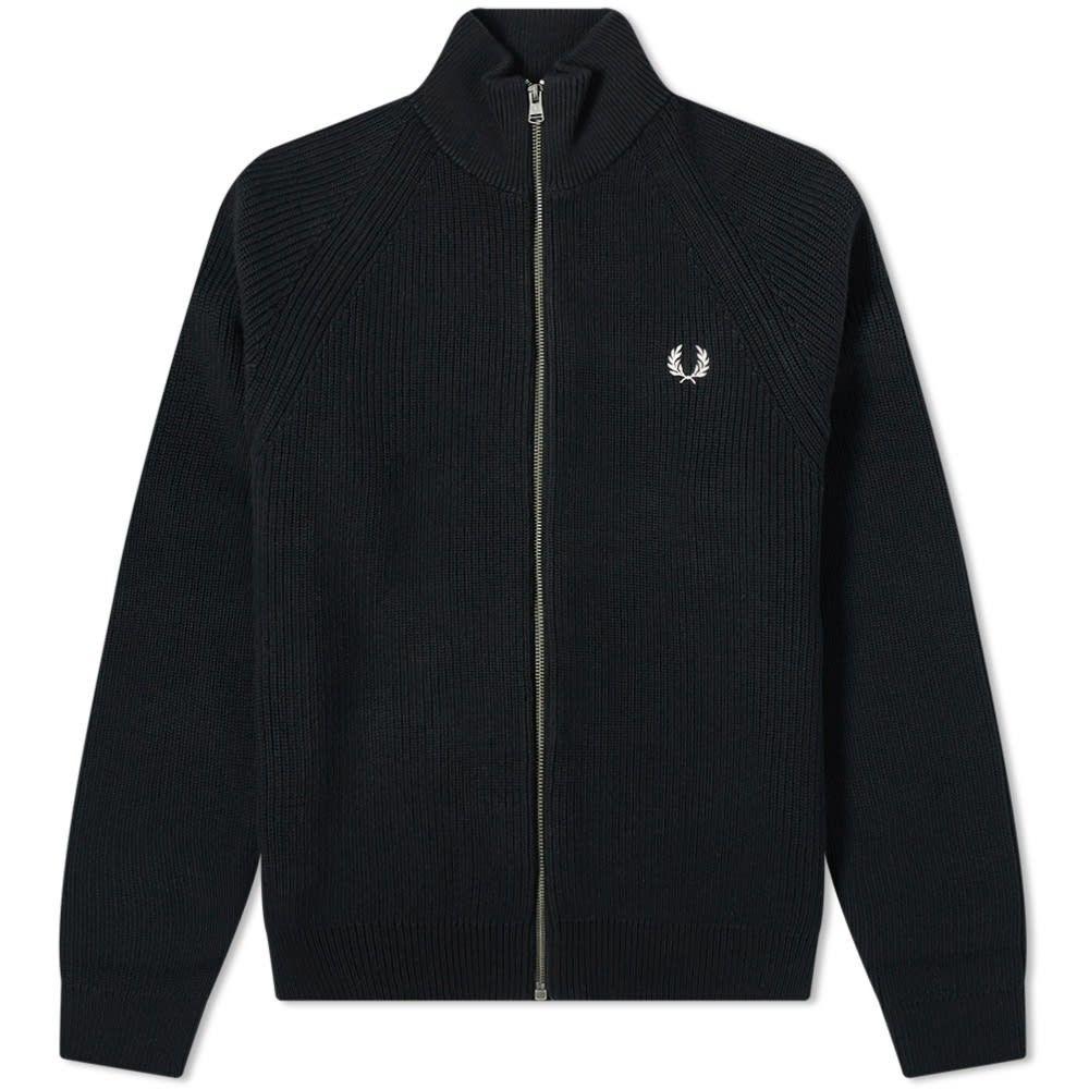 フレッドペリー Fred Perry Authentic メンズ ジャージ アウター【Knit Track Jacket】Black