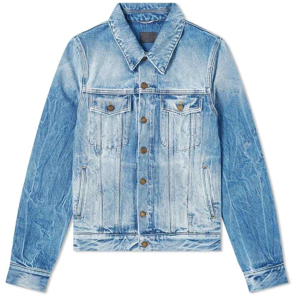 イヴ サンローラン Saint Laurent メンズ ジャケット Gジャン ウォッシュ加工 アウター【Washed Denim Jacket】Blue