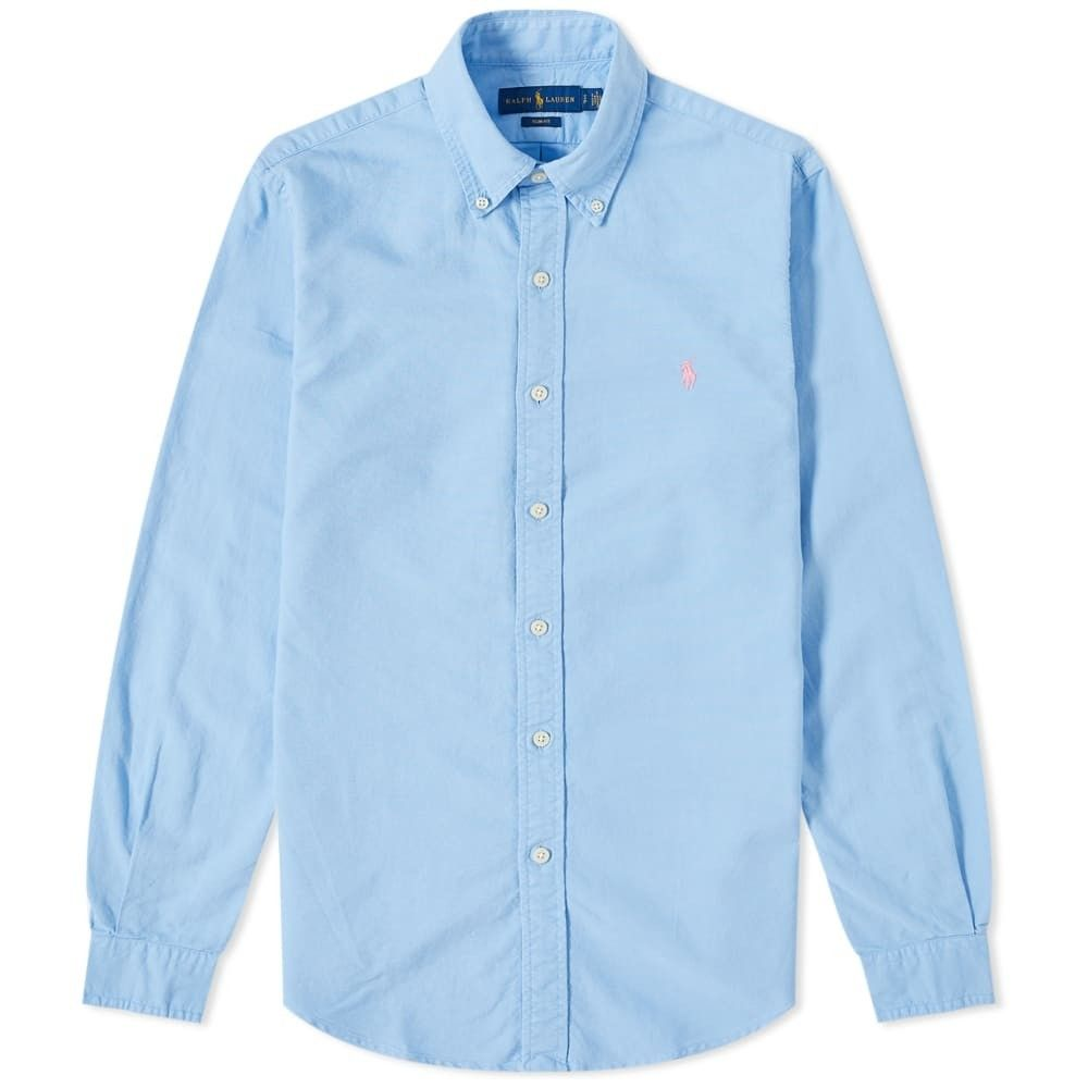 ラルフ ローレン Polo Ralph Lauren メンズ シャツ トップス【Slim Fit Button Down Garment Dyed Oxford Shirt】Blue Lagoon