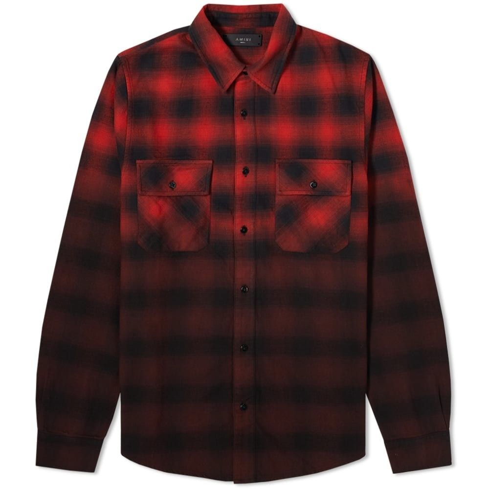 アミリ AMIRI メンズ シャツ フランネルシャツ トップス【Dip Dye Flannel Shirt】Red/Black