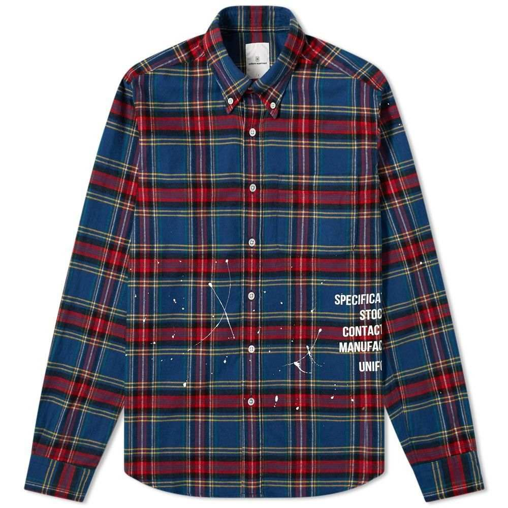 ユニフォームエクスペリメント Uniform Experiment メンズ シャツ フランネルシャツ トップス【Flannel Check Drip Shirt】Blue