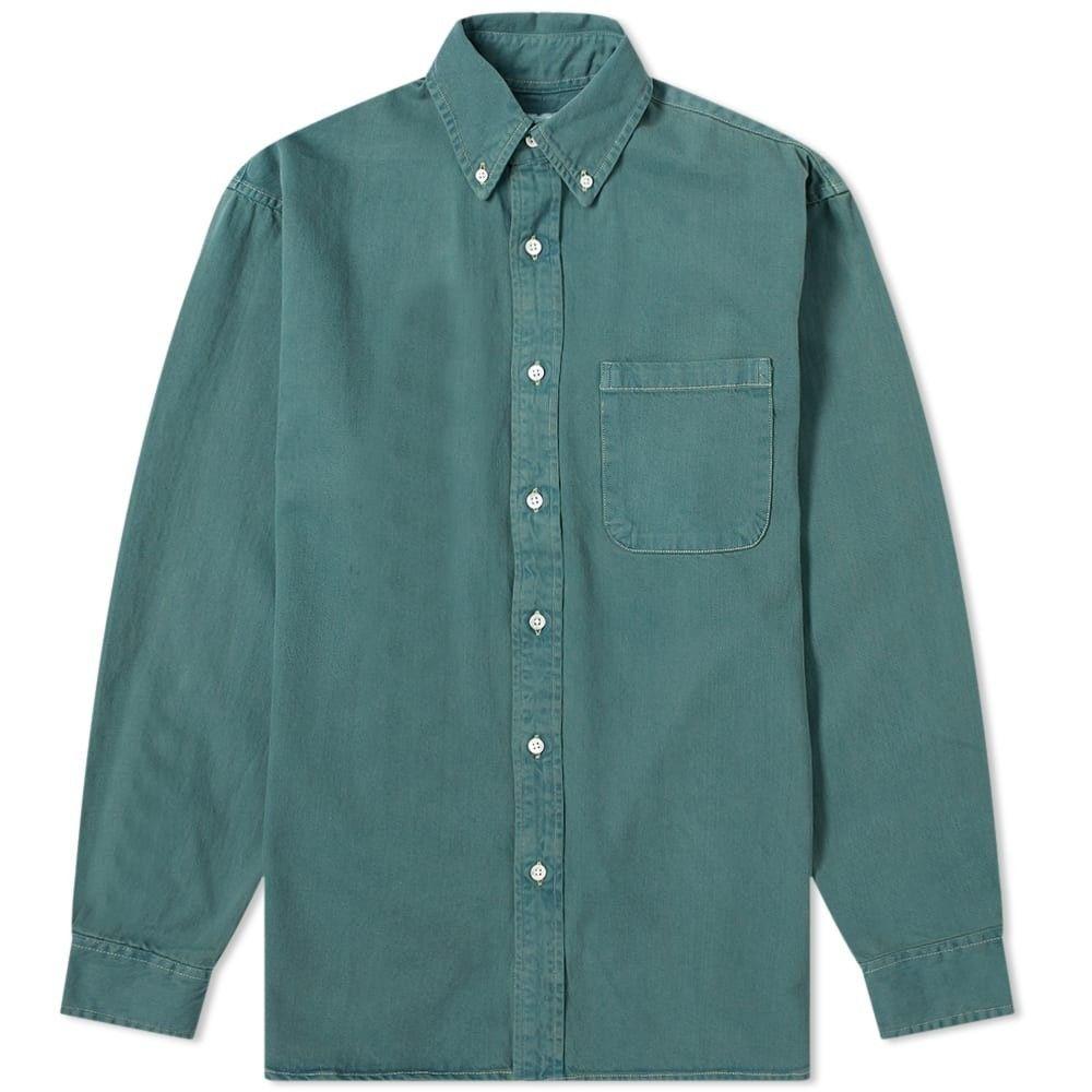 アドサム Adsum メンズ シャツ デニム トップス【Overdyed Denim Shirt】Dusty Green