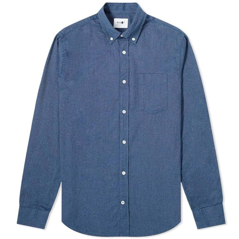 NN07 メンズ シャツ フランネルシャツ トップス【Levon Flannel Button Down Shirt】Navy Blue
