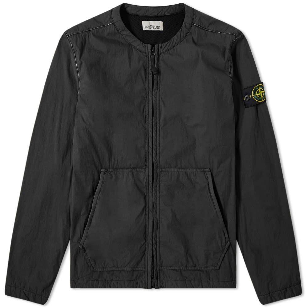 ストーンアイランド Stone Island メンズ ジャケット オーバーシャツ アウター【Brushed Cotton Garment Dyed Collarless Zip Overshirt】Black