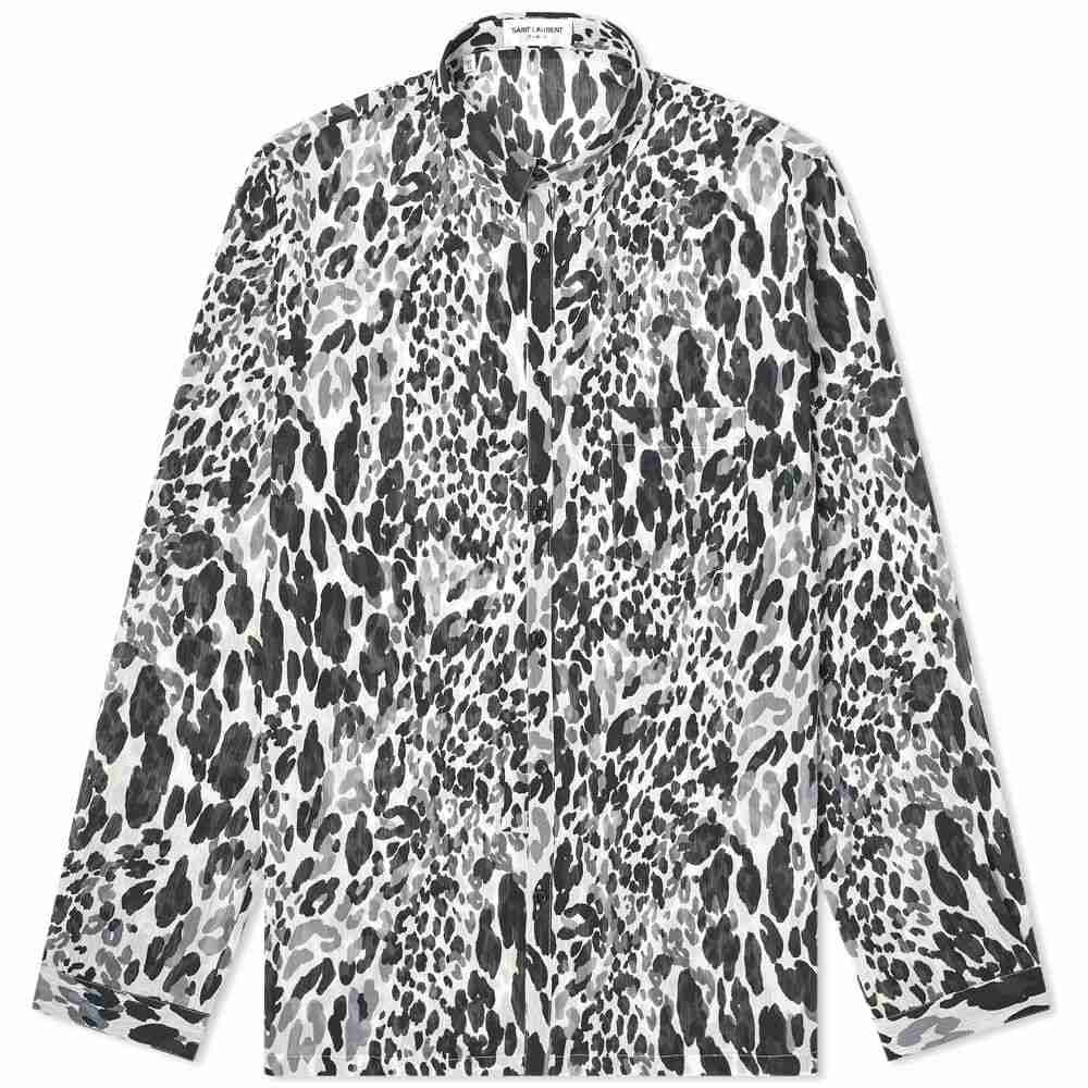 イヴ サンローラン Saint Laurent メンズ シャツ トップス【Fluro Leopard Print Shirt】Black/Grey