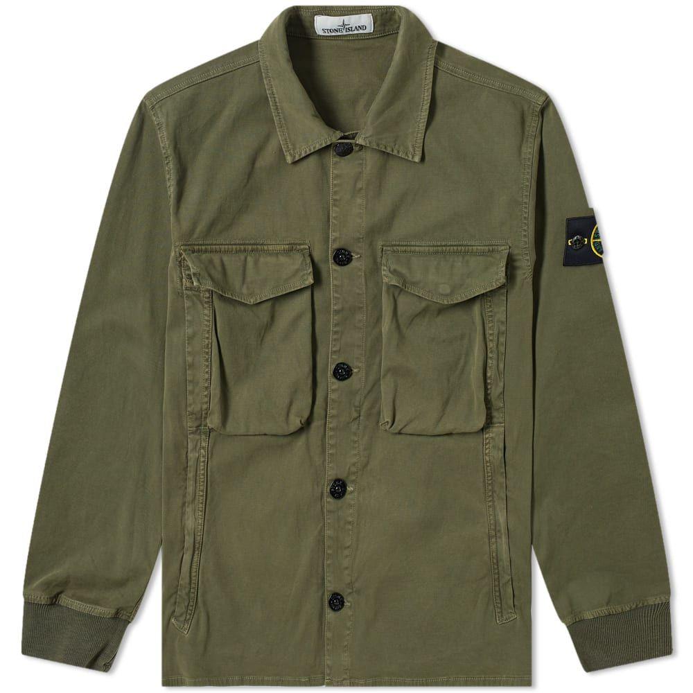 ストーンアイランド Stone Island メンズ ジャケット オーバーシャツ アウター【Garment Dyed Stretch Overshirt】Military Green