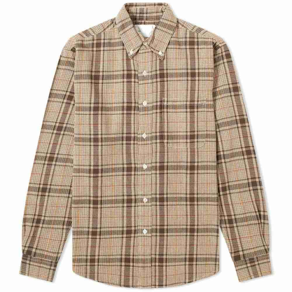 アドサム Adsum メンズ シャツ トップス【Button Down Premium Loose Weave Shirt】Brown/Beige