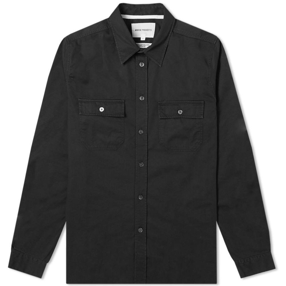 ノースプロジェクト Norse Projects メンズ シャツ トップス【Villads Panelled Pocket Shirt】Black