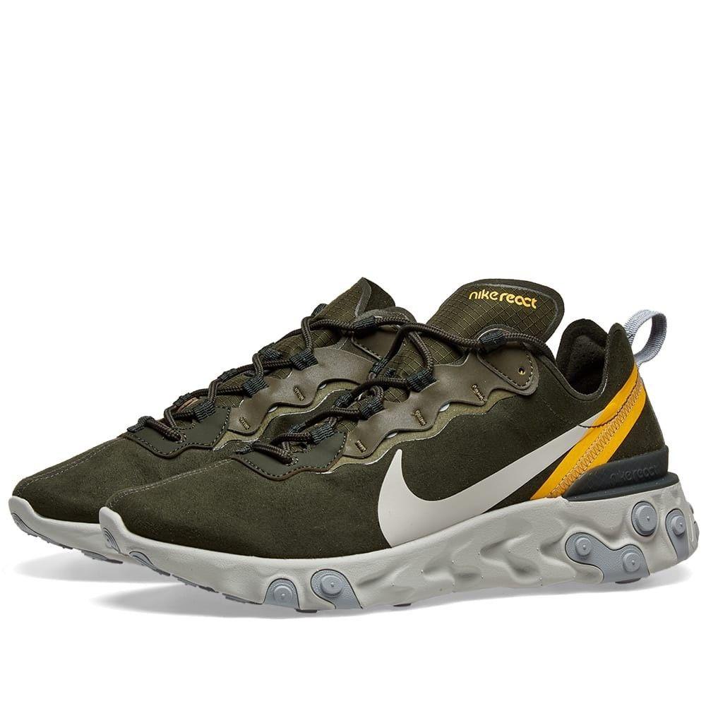 ナイキ Nike メンズ スニーカー シューズ・靴【React Element 55】Sequoia/Olive/Bone