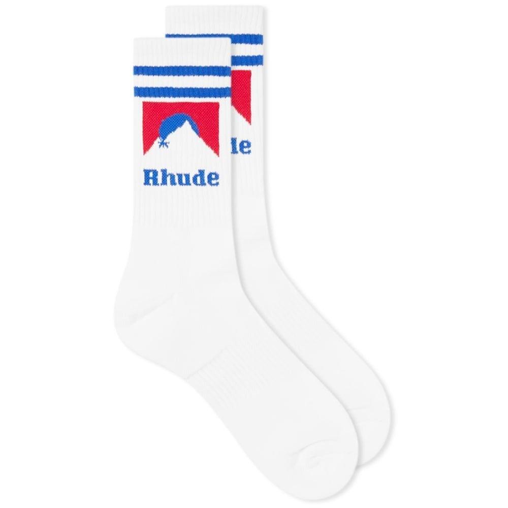ルード Rhude メンズ ソックス インナー・下着【Mountain Logo Sock】White/Red/Blue