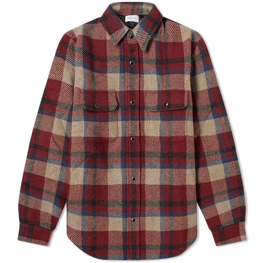 ジョン エリオット John Elliott メンズ ダウン・中綿ジャケット シャツジャケット アウター【Jupiter Padded Shirt Jacket】Burgundy/Navy Plaid