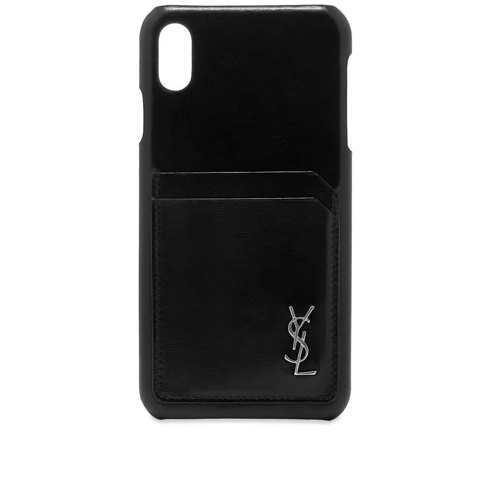 イヴ サンローラン Saint Laurent メンズ iPhoneケース 【YSL Metal Logo iPhone XS Max Case】Black/Silver