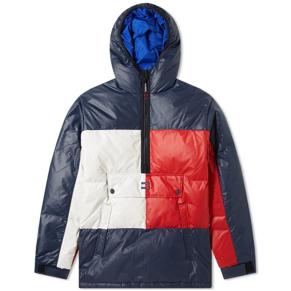 トミー ジーンズ Tommy Jeans メンズ ダウン・中綿ジャケット アウター【Popover Flag Puffer Jacket】Navy Blazer/Multi