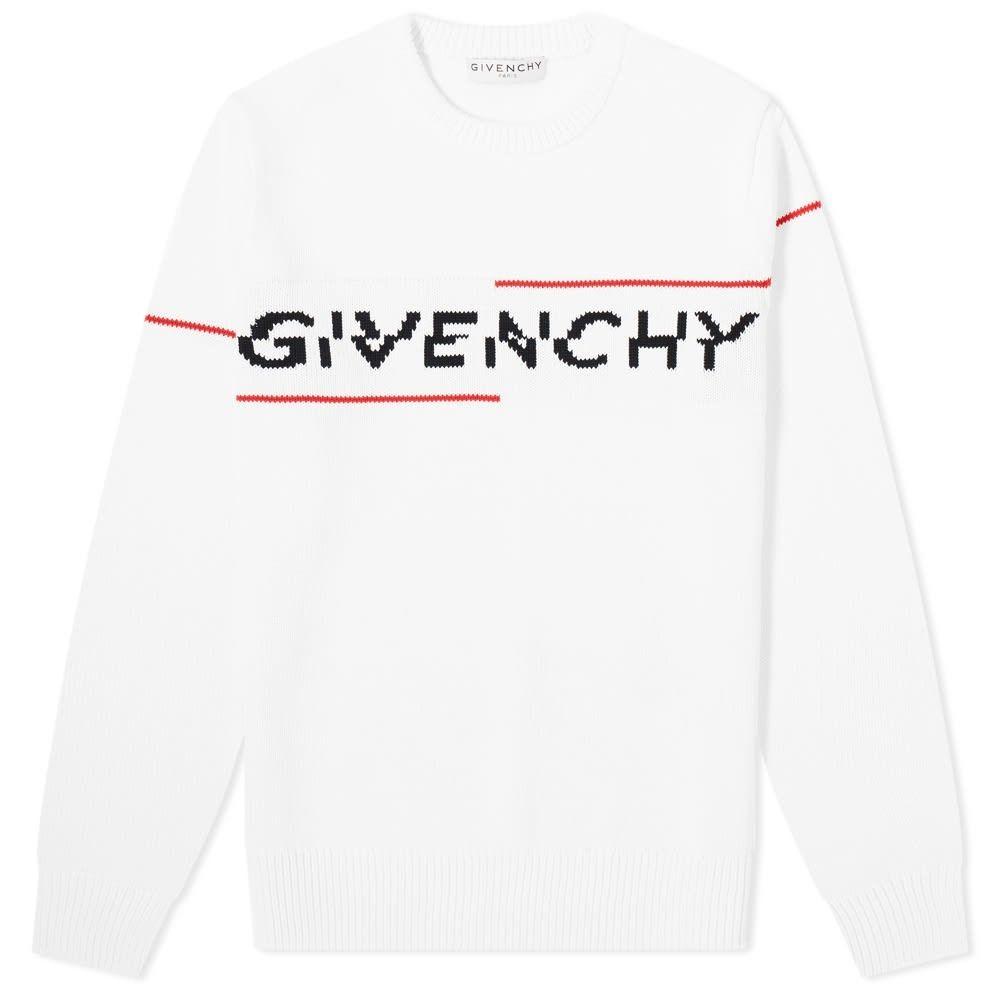 ジバンシー Givenchy メンズ ニット・セーター トップス【Split Logo Crew Knit】White/Red/Black