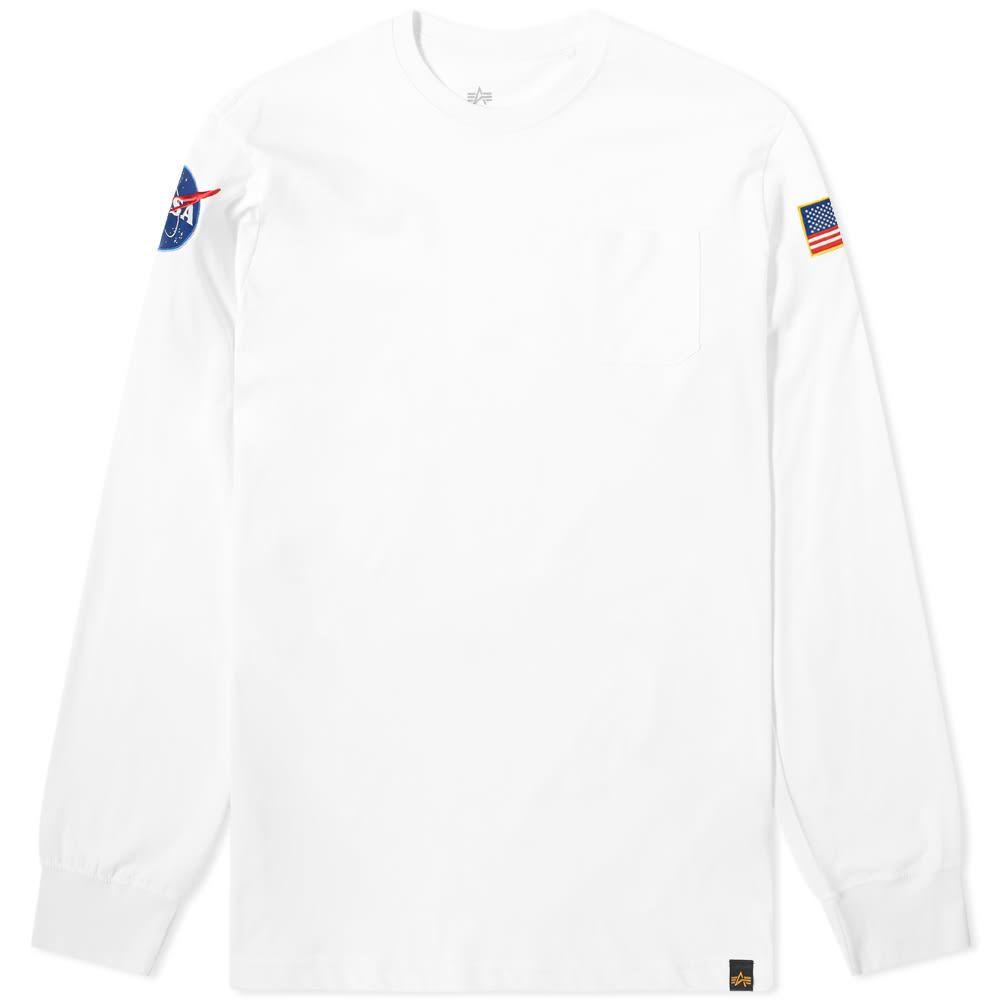 アルファ インダストリーズ Alpha Industries メンズ 長袖Tシャツ トップス【long sleeve nasa tee】White