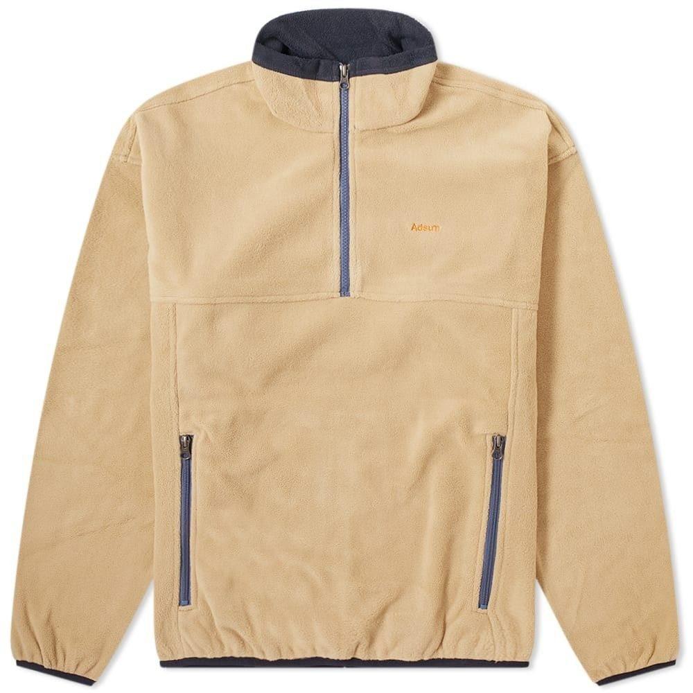 アドサム Adsum メンズ フリース トップス【Fleece Popover Jacket】Beige/Navy